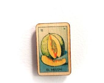 El Melon Loteria Mexican Bingo Wooden Refrigerator Magnet
