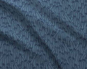 Political Activist Fabric - Protest Fists On Blue By Landpenguin - Social Justice Resist Cotton Fabric By The Yard With Spoonflower