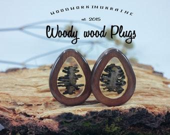 Rib cage ear plugs gauges - 3D plugs - teardrop plugs bones - dropshaped gauges rib cage - teardrop wood plugs - dropshaped wooden plugs