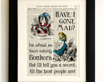 FRAMED ART PRINT on old antique book page - Alice in Wonderland, Mad Hatter Bonkers Vintage Upcycled Wall Art Print Encyclopaedia Dictionary