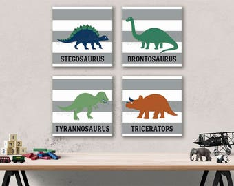 Dinosaur Striped Canvas Wall Art Prints