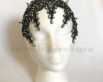 The Bettie spiked & jeweled lace headband (in Hunter green) *FREE SHIPPING*