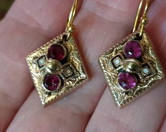 Antique 1870's Victorian Incredible Gold plated Rubies?White Black Enamel Biedermeier Dangle Earrings