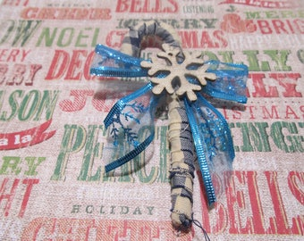 Primitive Candy Cane-Christmas Decor-Rustic Decor-Primitive Decor-Bowl Fillers-Rustic Ornament-Primitive Ornament-Gifts for Her
