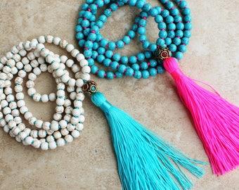 Boho Glam, Long Beaded Necklace, Tassel Necklace, White or Turquoise, Layering Boho Necklace, Bohemian style by Inarajewels