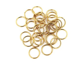 10 Stainless Steel Jump Rings Unsoldered Gold Tone 13mm - MT535