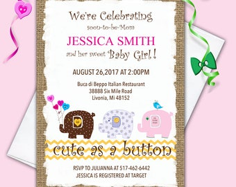 Cute as a Button Baby Shower Invitation Cute Baby Shower Banner Decoration Elephants Buttons Baby Nursery Decor Baby Nursery wall art