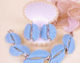 60s Signed BSK Silver Blue Thermoset Earring & Bracelet Jewelry Set