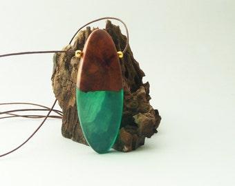 Resin wood pendant,Boxo pendant,Unique resin necklace,Wooden necklace,Resin and wood pendant,Handmade necklace,Resin and wood