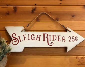 Sleigh Rides Reclaimed Rustic Wood Arrow Sign