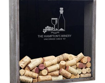 Wine Cork Holder Shadow Box, Wedding Gift, Guest Drop Box, Wine Gift, Gift For Wife, Engraved Shadow Box