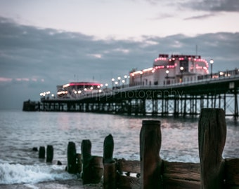 Worthing Pier Photography Print, Seafront Landscape Wall Art, Colour/Black And White