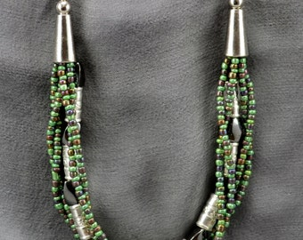 Silver, Hematite, and seed bead Multi-strand Necklace