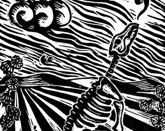 Singing coyote skeleton - linocut print