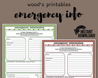 Emergency Information PDF Printable; Contact Information, Emergency Contact, Household Binder, Emergency Kit, Household Planner