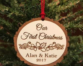 Personalized Christmas Ornament, Our First Christmas Ornament, Custom Wood Christmas Ornament, Our 1st Christmas, Christmas Gift