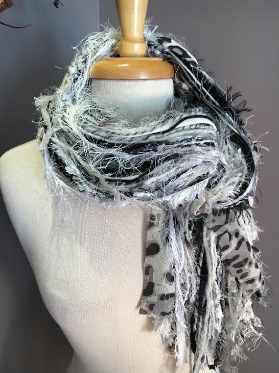 Fringie in Grey Cheetah - Fringe Scarf - Multitextural handmade fringe scarf, black white, grey cheetah print, boho chic scarf, fur