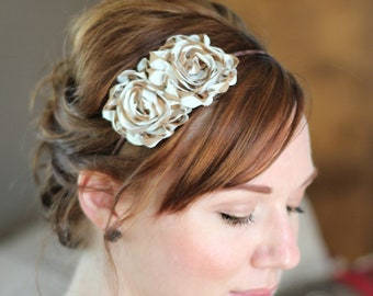 Tan Stripes Flower Headband for Women and Teens