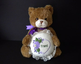 Friend gift, plush bear, embroidered pillow, brown bear, birthday gift, holiday gift, special friend