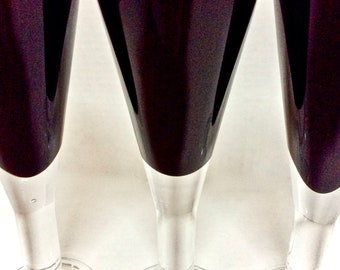 Vintage Champagne Flutes Black Amethyst Glass with Thick Clear Stems Set of 4, Sleek and Modern