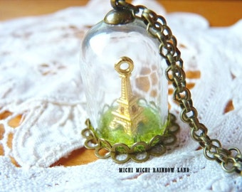 Love Paris Tower Eiffel Glass Globe Necklace or Earrings - Gift box included