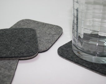 Drink Coasters Square Felt Coaster Set for Men Bar Cart Decor Accessories 5mm thick Wool Eco friendly Barware Housewarming Hostess Gift Grey