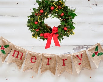 Merry Burlap Banner, Christmas Banner, Burlap Banner, Holiday Banner, Christmas Garland, B016