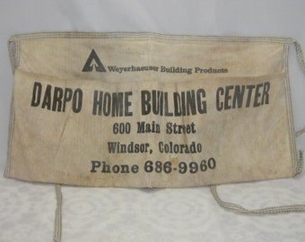 Vintage Canvas Half Apron Carpenter Work Apron Windsor, Colorado