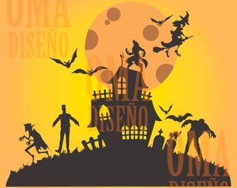 Haunted House (House of Terror) SVG/DXF/Eps/Png/JPG
