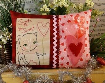 Valentine Kitty cat embroidery pillow Pattern PDF - stitchery new vintage like heart primitive treat gift balloon candy