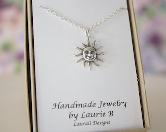 Sun Charm Necklace, Friendship Gift, Sterling Silver, Bestie Gift, Sunshine Charm, Thank you card, Sky