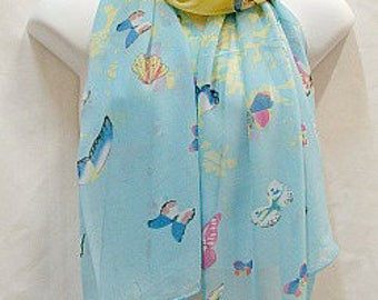 Scarf in Blue & Yellow with Butterflies in Blue and Pink
