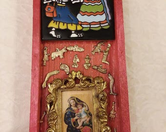 Catrina, Mother & Child, milagros, Day of the Dead, ofrenda, nicho, altar