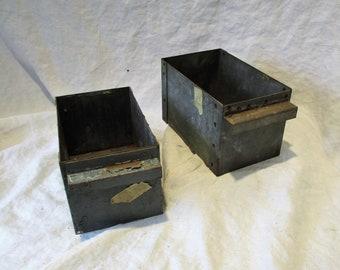 Gray Metal Drawers, Rusty Industrial Factory Salvage, Repurpose as Organizers