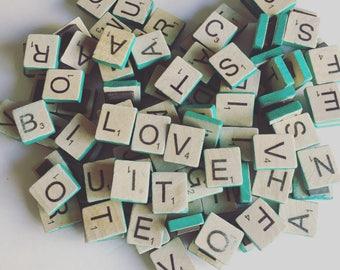 Colored Edge Wooden Letter Tile Refrigerator Magnets