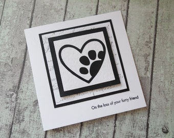 Paw prints on your heart card/Loss of your furry friend /Pet loss card /Pet sympathy card/ Rainbow bridge card / handmade pet sympathy card