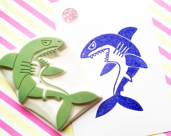 scary shark rubber stamp | angry shark | jaws | diy birthday card making | fabric stamping | summer craft | hand carved by talktothesun