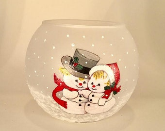 Hand Painted Snowman Couple Glass Candle Holder - Snowman Couple Glass Bowl