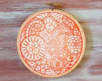 Orange Moon Embroidered Hoop Art-Hoop Art-Wall Hanging-Home & Office Decor