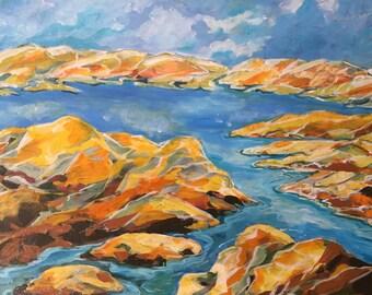 Rocks, Lake, Sky