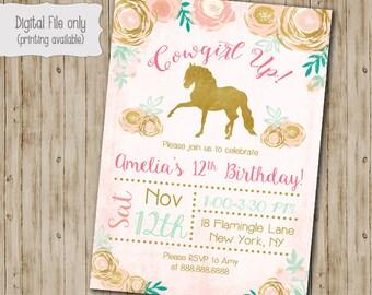 Gold Floral Horse Girl Birthday Invitation, Horse Birthday invite, Watercolor, Floral, Gold, Shabby Chic, Boho Birthday Invitation
