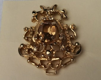Vintage Sarah Coventry Gold Tone Brown Crystal Brooch