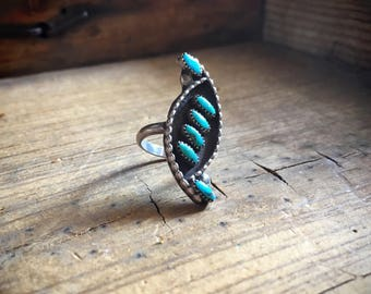 Vintage Turquoise Ring Zuni Petit Point Size 4.5, Native American Ring, Turquoise Jewelry