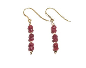 9ct Gold and Ruby Earrings