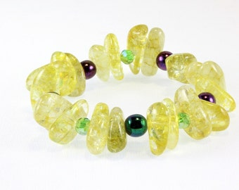 Lemon Quartz Stretch Bracelet, Czech Beads and Crystals, Ice Flake Quartz, Yellow Quartz Bracelet, Mardi Gras Bracelet