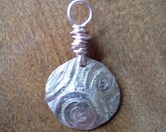 Hammered and etched copper pendant #24