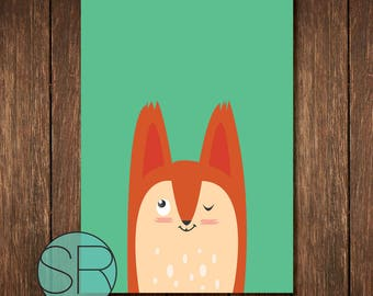 kids poster, fox A4 size poster,
