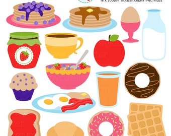 Breakfast Food Clipart Set - clip art set of toast, pancakes, donuts, waffles, muffin - personal use, small commercial use, instant download