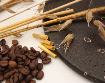 Recycled Coffee And Straw Plate, Recycled Crafts, Handmade woodturning, Modern Trivet Made Of Natural Materials, Natural art