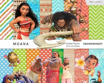 Moana Polynesian Princess Inspired 12 X Inches Digital Papers 300 Dpi Clip Art